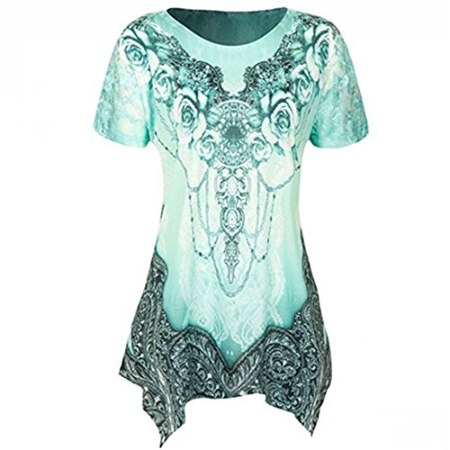 (Plus Size Womens Clothing Respctful✿ Casual Short Sleeve T Shirt Boho Floral Print Top Ladies Casual Hem Blouse Green)