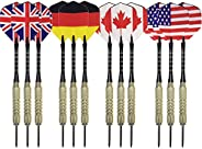 Steel Tip Darts - Aluminum Metal Dart Shafts, Brass Barrels and Various Dart Flight Flag Designs - Professiona