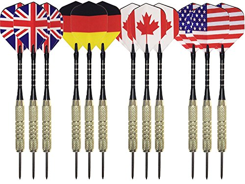 TrekProof Steel Tip Darts Set (12-Pack) - Aluminum Shafts, Brass Barrels and National Flight Flags - United States, Canada, Germany, England - Professional or Beginner Throwing