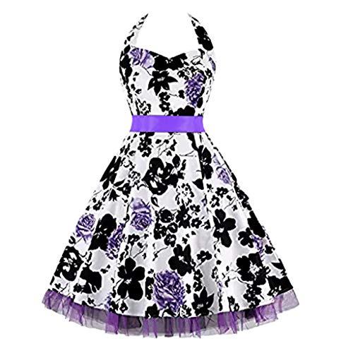 Dress Swing Knot (Lelili Women Vintage Polka Halter Dress Floral Printed Evening Cocktail Dress Fashion Bow-Knot Swing Dress)
