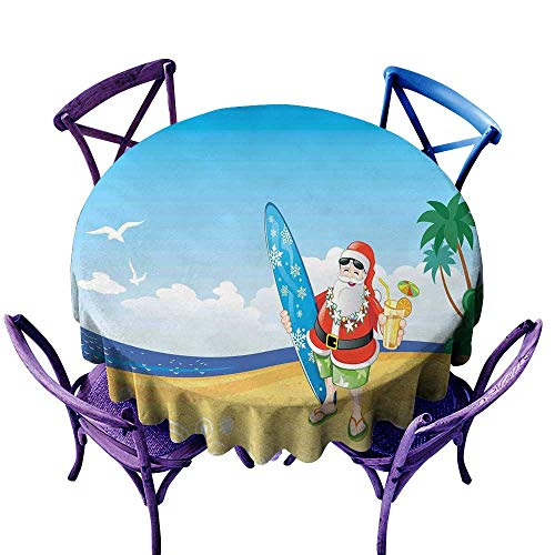 crabee Restaurant Table Cover Christmas,Santa Claus on The Beach with Surfboard Summer Party Celebration Tropical Art,Blue Yellow,Round Tablecloth