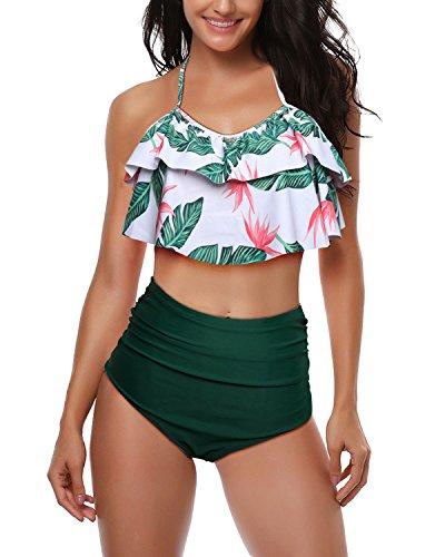 W YOU DI AN Women's Falbala High Waisted Swimsuit Bikini Bathing Suits for Women Green (Best Friend Bathing Suits)