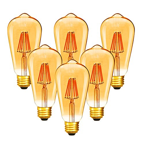Dimmable 6W Vintage Edison LED Bulb, ST64(ST21) Antique Filament LED Light Bulbs (Amber Glass), 50W Equivalent, Soft Warm 2200K 420 Lumens, 6 Pack?2 Year Warranty)