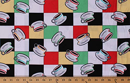 Cotton Coffee Cups Mugs Allover Cafe Restaurant Tiles Squares Arnold's Diner Check Cotton Fabric Print by the Yard (05823-99)