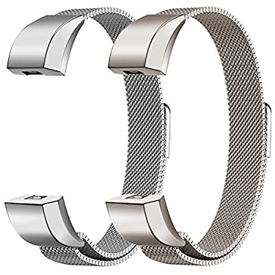 "Oitom Bands Compatible Fitbit Alta HR and Fitbit Alta/Fitbit Alta Ace,Replacement Accessory Stainless Steel Watch Bands (2 Size) Large 6.7""-9.3"" Small 5.1""-6.7"" 2 Pack"