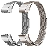 Oitom Alta HR Accessory Bands and Alta Band,New Fashion Stainless Steel Milanese Loop Wristband (2 Pack Silver+Champagne, Small 5.1