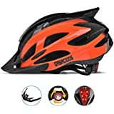 GASACIODS Bike Helmet, CPSC Certified Adjustable Light Bicycle Helmet Specialized Cycling Helmet for Adult Men&Women Road and Mountain Bike Helmet with Detachable Visor&Rear LED Light