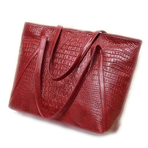 grande Hot 39cmx16cmx31cm capacité cuir Simple Sacs Shopping Red à occasionnels main de polyuréthane Alligator bandoulière bacs Pink dames en à brillant sac xIBUawt