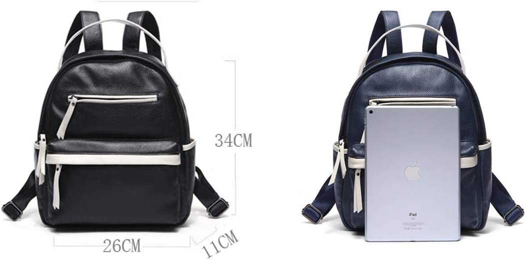 Fashion College Style. Color : Black, Size : 26cm34cm11cm Cowhide Black Haoyushangmao Girls Multi-Purpose Backpack for Everyday Travel//Outdoor//Travel//School//Work//Fashion//Leisure
