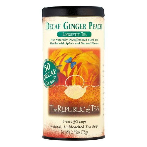 The Republic Of Tea Decaf Ginger Peach Black Tea, Longevity Blend of Ginger and Peach Tea