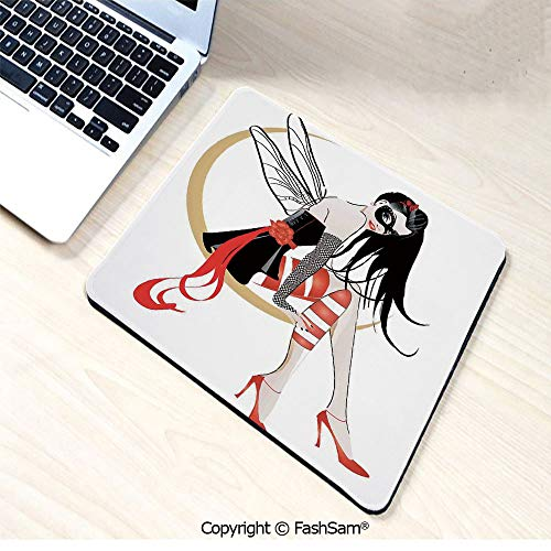 Mouse Pads Stylish Girl with Mask and Wings on The Moon Luna Fantasy Artsy High Heals Fashion for Home(W9.85xL11.8) ()