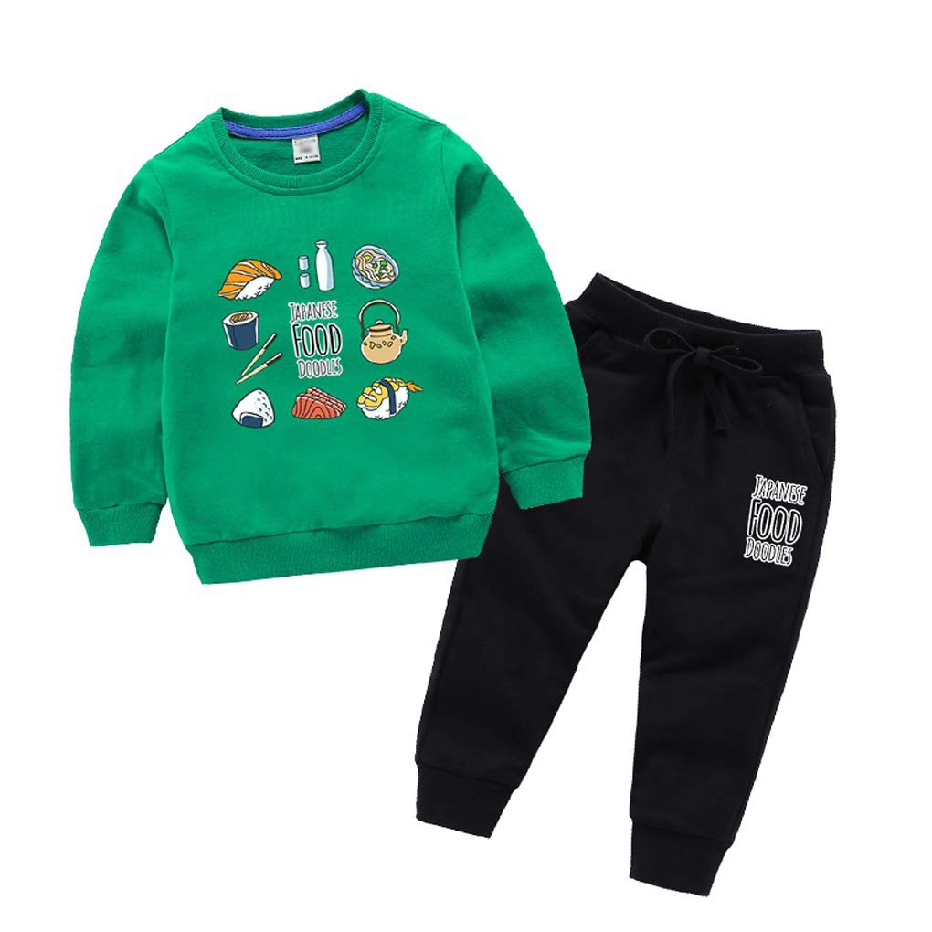 Boys Kids Funny Print Cotton Sweatshirt Outfits Tracksuits Pullover Pants 2 Piece Set