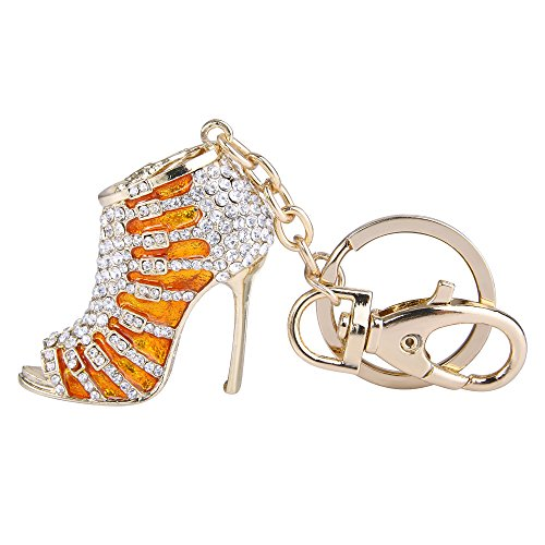EVER FAITH Austrian Crystal Orange Enamel Sexy High Heel Shoe Keychain Clear Gold-Tone