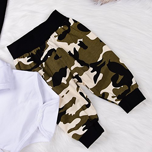 Angekids 3Pcs Baby Boys Camouflage Romper Tops+Pants Leggings+ Hat Outfits Set