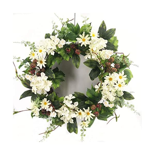 Wreath For Door Signs Of Summer Front Door Wreath Black Raspberry White Hydrangea Daisy Wreath Indoor Outdoor Year Round Everyday Decoration Kitchen Dining Area Traditional To Farmhouse Decor 22 Inch