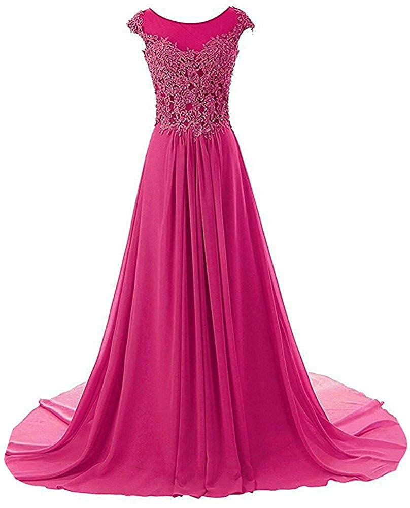 Hot Pink Wanshaqin Women's Aline Lace Appliques Evening Party Cocktail Dresses Bridesmaid Gowns Prom Formal Dresses for Events Party