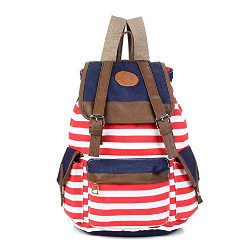 HEYFAIR Cute Pretty Women Girls Canvas Stripe Backpack for School Travel Bags (red)