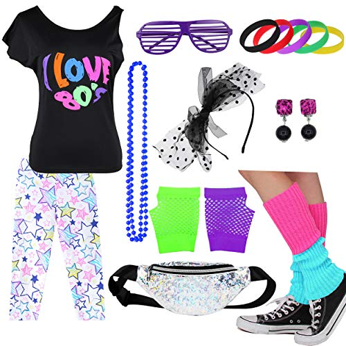 Kids 1980s Accessories I Love The 80's T-Shirt Outfit with Fanny Pack (14-16, ()