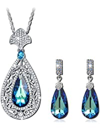 Peacock Jewelry Set Made with Swarovski Crystals, Pendant Necklace and Earrings Set