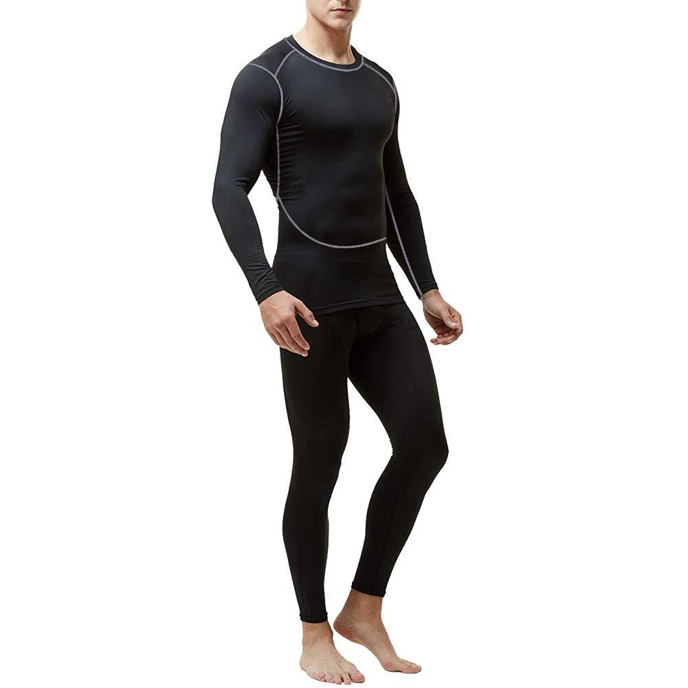 Maglia MeetHoo Set Biancheria Intima Termica per Uomo Pantaloni Termici con Funzione Corsa Sci Palestra Ciclismo Running