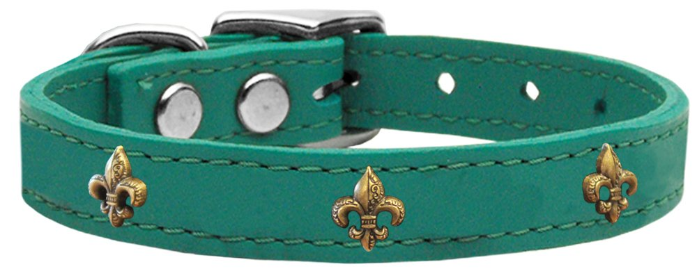 Mirage Pet Products Bronze Fleur De Lis Widget Leather Dog Collar, Size 16, Jade