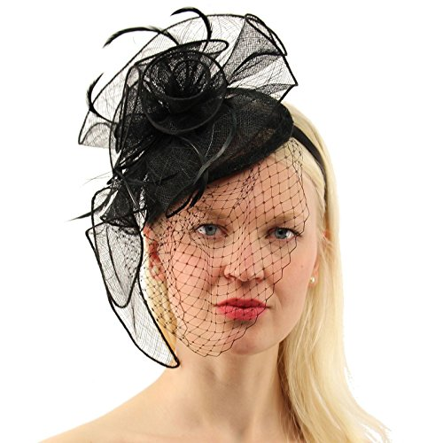 PREV NEXT Home — CC Sinamay Feathers Netted Veil Fascinators Headband  Cocktail Derby Hat 69f08ad72c66