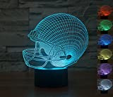 Football Helmet Night Light 3D Illusion Lamp Desk Lamp for Home Decor 7 Colors Changing USB Powered Touch Button Table Night Lamp - BEST Birthday/Holiday Gift for Kids/Boys/Men/Football Lovers