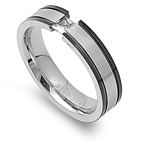 (Princess Cut Tension Set Cubic Zirconia Black Stripes Band Ring Stainless Steel Size 10)