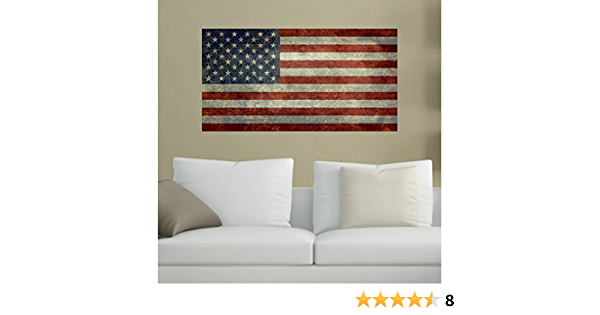 Vintage American Flag Distressed Vinyl Wall Decal Sticker Graphic Art Mural