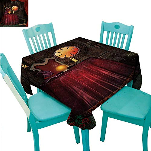 Gothic Square Polyester Tablecloth Fortuneteller Room with Mystic Crystal Ball Magician in Fairy Tale Image Print Waterproof/Oil-Proof/Spill-Proof Tabletop Protector 70