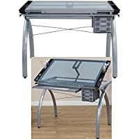 Mechanical Drafting Table with Tempered Glass Top Storage Drawers and Side Cases Steel Frame Drawing Architect Professional Adjustable Drafting Table Workstation eBook by Easy&FunDeals
