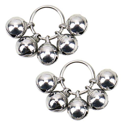JETEHO 2 Pcs Silver Stainless Steel Dog Bells Non Rust Loud Collar Pet Training Charms Bell for Cats ()