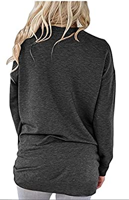 onlypuff Loose Fit Shirts for Women Pocket Casual Tops Solid Baggy Blouse Dark Gray XL