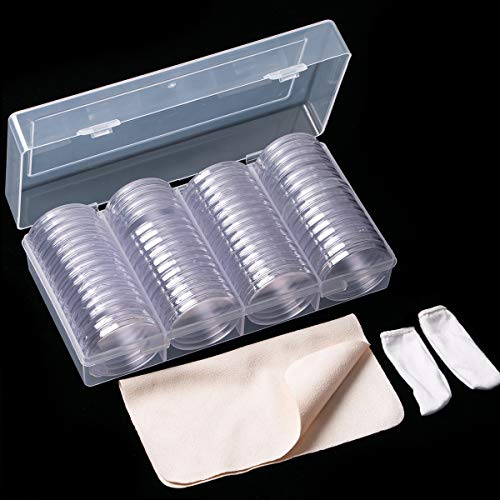 60 Pieces 41mm Coin Holder Silver Eagles Coin Capsules Clear Plastic Storage Organizer Box for Coin Collection Supplies Coin Holders for Collectors