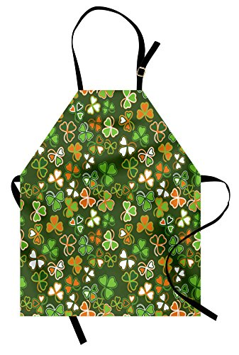Patricks Day Bib - Ambesonne St. Patrick's Day Apron, Lucky Shamrocks Pattern Irish Clover Celebration Day Party Prints, Unisex Kitchen Bib Apron with Adjustable Neck for Cooking Baking Gardening, Green and Orange