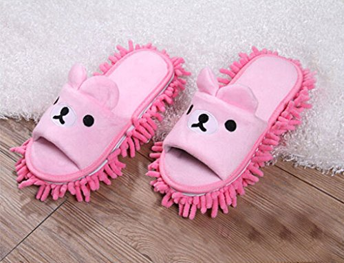 Selric [Bear Image] Super Chenille Microfiber Washable Mop Slippers Shoes for Women , Floor Dust Dirt Hair Cleaner, Multi-sizes & Multi-Colors Available 8 2/3