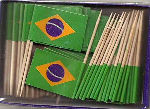 Box of 100 Brazil Brazilian Toothpick Flags Dinner Flags Food Flags Flag Pick WindStrong®