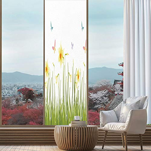 YOLIYANA The Visual Effect of Textured Glass and Stained Glass,Daffodil Decor,is Good for Long Year Under The Sunshine,Daffodil Field with Butterflies in Meadow Grass Springtime,24''x78''