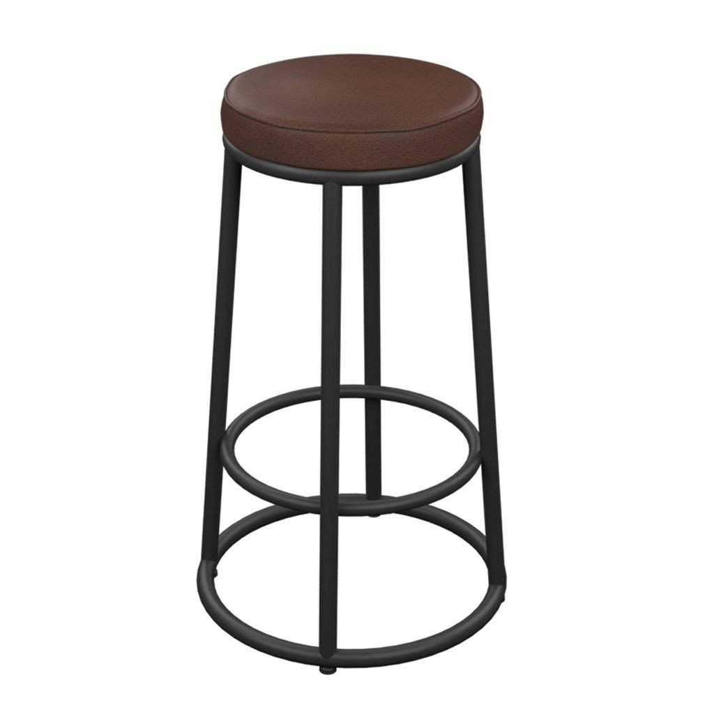 A 65CM LYJ Solid Metal Industrial Breakfast bar Stool, Industrial Style Retro Antique Kitchen bar bar Stool Solid Wood seat (color   A, Size   65CM)