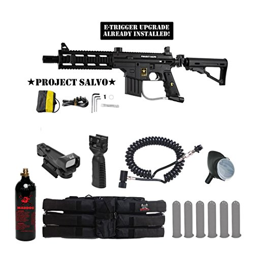 Tippmann U.S. Army Project Salvo w/ E-Grip Tactical Red Dot Paintball Gun Package - - Red Hopper Paintball