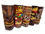 """All Seas Imports Set of (5) Gorgeous Wooden Handcarved 12"""" Tall Tiki Masks Tropical Wall Decor!"""