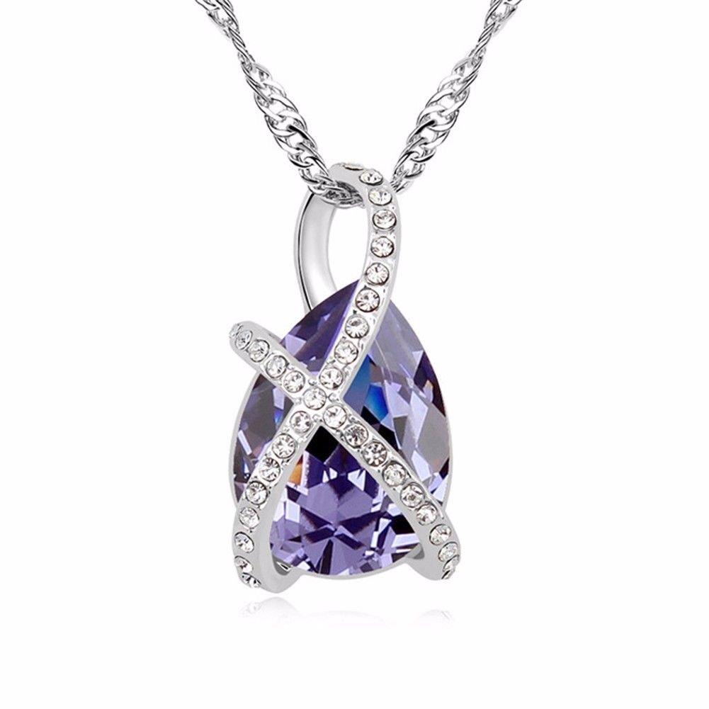 SHOUSHIZHIJIA Kristall - Halskette - Kristall Interlaced Love Anhänger Schmuck, Lila fb830c