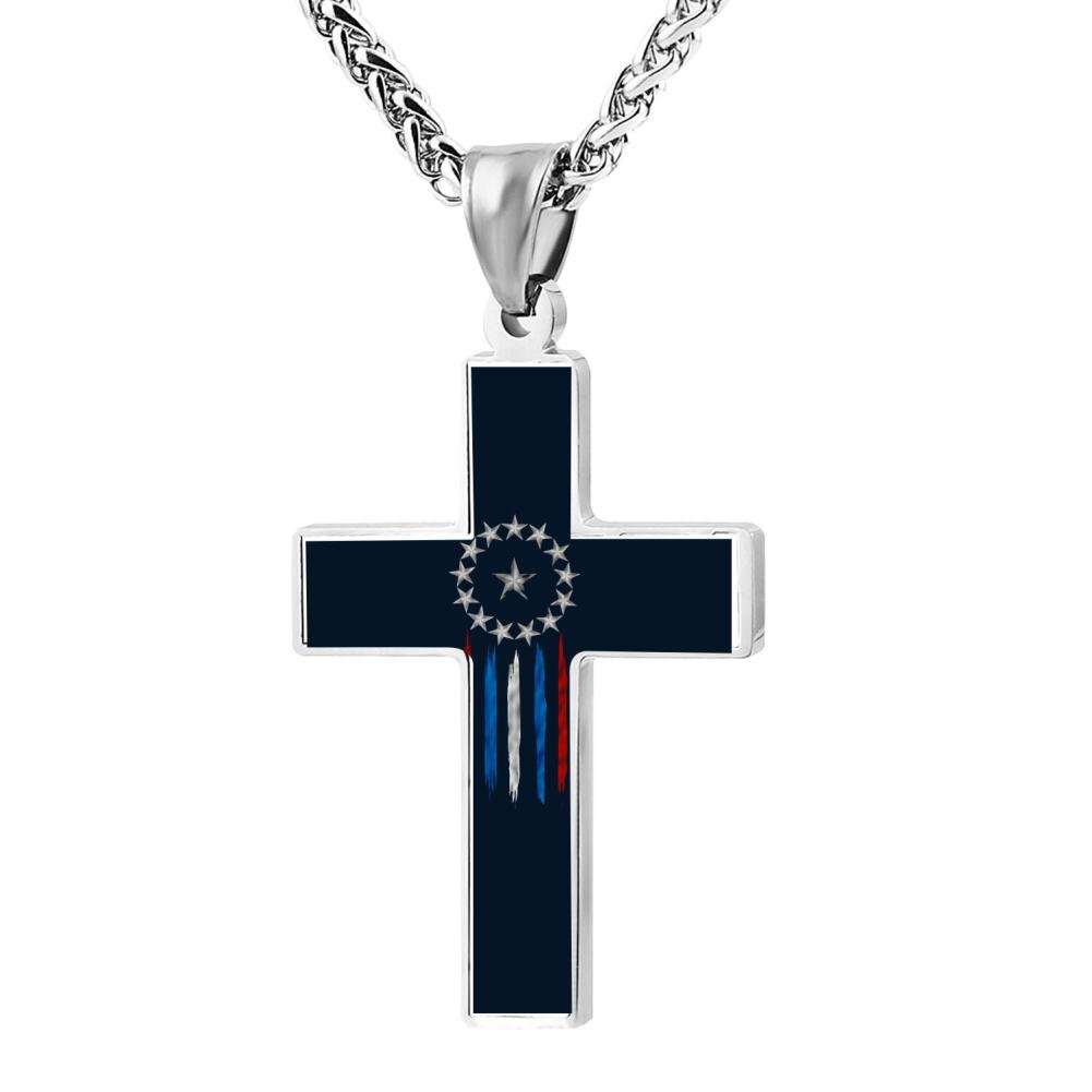 Jewelry Zinc Alloy Chain Necklace for Men Women FollowC old world flag Cross Pendant 24 Inches