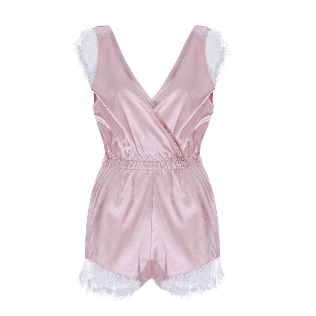 Plus Size Women Solid Lace Hollow Out Romper Comfortable Scalloped Trim Lace Jumpsuit Sleepwear Lace Babydoll (Pink, 2XL)