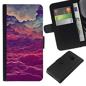 EJOY---La carpeta del tirón la caja de cuero de alta calidad de la PU Caso protector / HTC One M7 / --Dios púrpuras Nubes inspiración