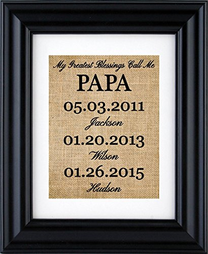 My Greatest Blessings Call Me PAPA - Christmas Gift from grandkids, Personalized Papa Gift, Grandchildren Name Wall Art, gift from children- burlap print-2Y(Frame not included)