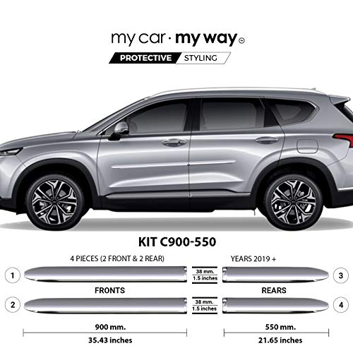 (MY CAR MY WAY (Fits) Hyundai Santa Fe 2019 Chrome Body Side Molding Cover Trim Door Protector)