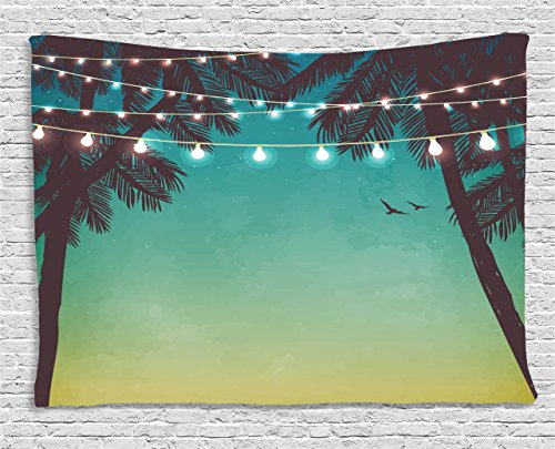 Ambesonne Nature Tapestry, Night Time Beach Sunset Design with Little Lantern and Island Palm Trees Art Print, Wall Hanging for Bedroom Living Room Dorm, 60 W X 40 L Inches, Pale Teal ()
