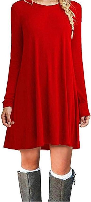TALLA XXL. ZNYSTAR Mujeres Suelto Casual Vestido de Camiseta Cuello Redondo Rojo Manga Larga XXL