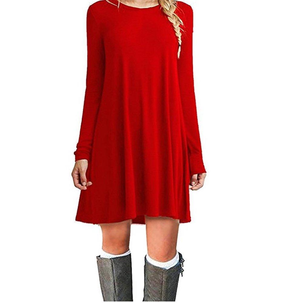 TALLA XXL. ZNYSTAR Mujer de Camiseta Suelto Casual Cuello Redondo Mini Vestidos Rojo Manga Larga XXL